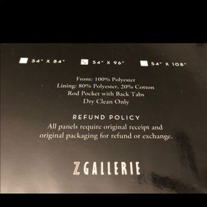 """Z Gallerie Accents - Z Gallerie single curtain panel- 54""""x96""""- nwt"""